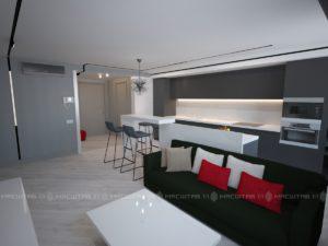 Дизайн-проект квартиры в поселке Михайловка Green Place (63кв.м)